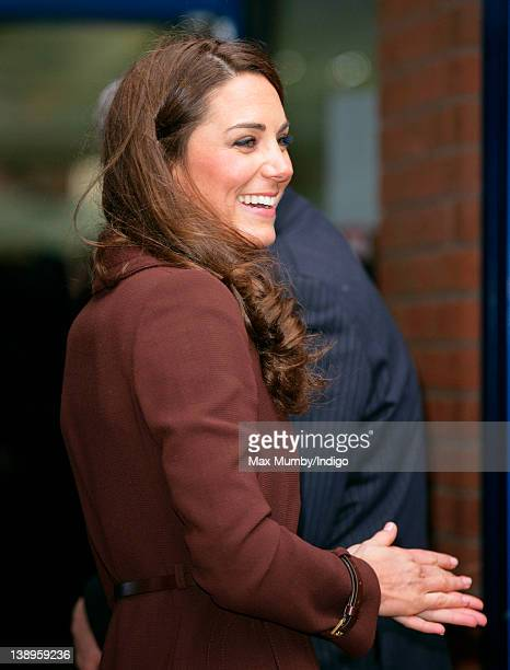 Catherine, Duchess of Cambridge smiles as she arrives for a visit to Alder Hey Children's Hospital on February 14, 2012 in Liverpool, England.