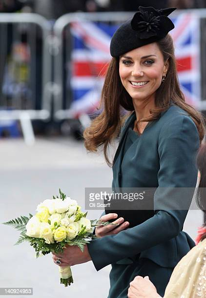 Catherine Duchess of Cambridge smiles as she arrives in Leicester city centre on March 8 2012 in Leicester England The royal visit to Leicester marks...