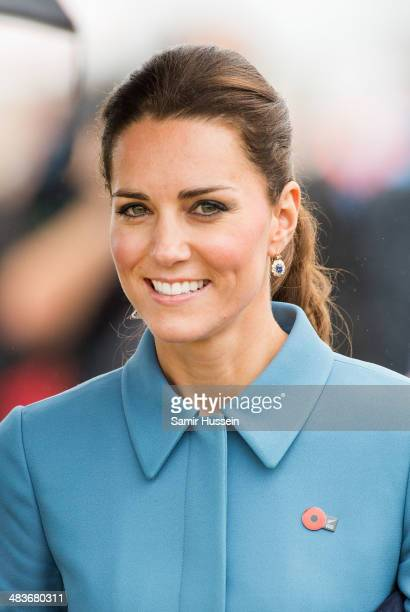 Catherine Duchess of Cambridge smiles as she attends a WW1 commemorative and Flying Day at Omaka Aviation Heritage Centre on April 10 2014 in...