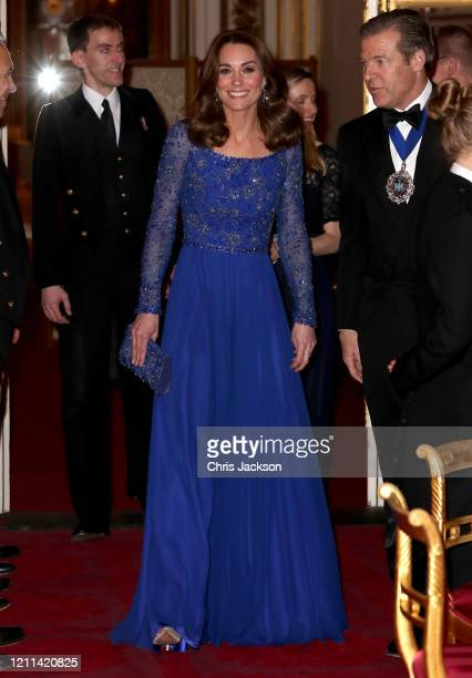 Catherine, Duchess of Cambridge smiles as she hosts a Gala Dinner in celebration of the 25th anniversary of Place2Be at Buckingham Palace on March...
