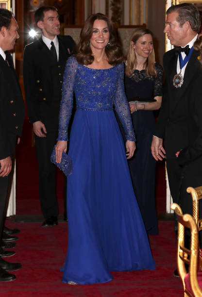 Catherine Duchess of Cambridge smiles as she hosts a Gala Dinner in celebration of the 25th anniversary of Place2Be at Buckingham Palace on March 09...
