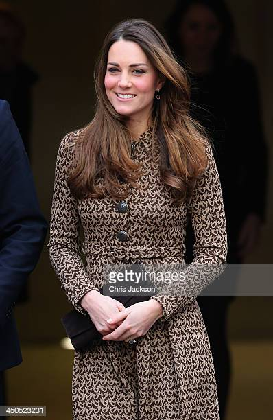 Catherine Duchess of Cambridge smiles as she leaves the Only Connect and exoffenders projects on November 19 2013 in London England