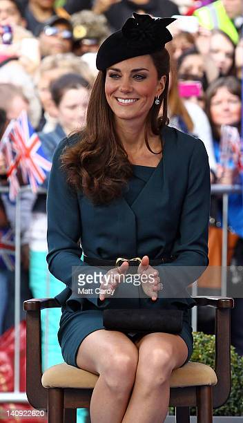 Catherine, Duchess of Cambridge smiles as she listens to a welcome speech in Leicester city centre on March 8, 2012 in Leicester, England. The royal...
