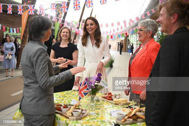 Catherine, Duchess of Cambridge smiles as she meets people from communities across Cornwall at an event in celebration of The Big Lunch initiative at...