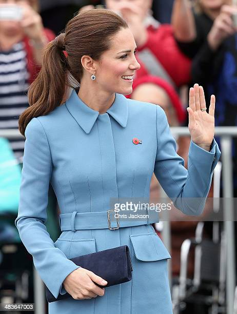 Catherine, Duchess of Cambridge smiles as she meets the gathered crowds in Seymour Square during Day 4 of a Royal Tour to New Zealand on April 10,...
