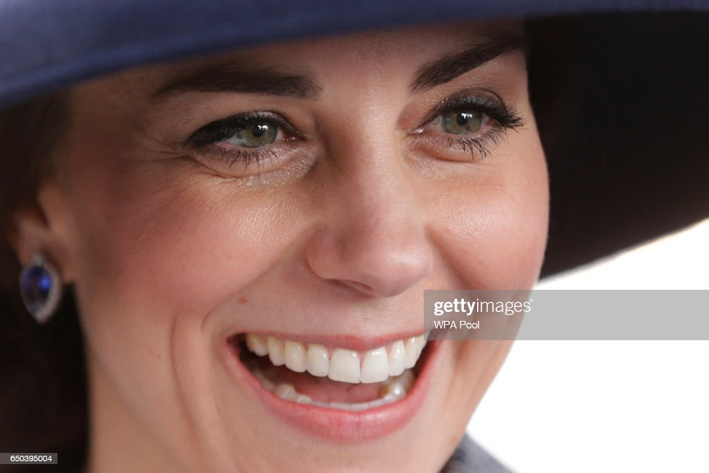 Catherine, Duchess of Cambridge smiles as she meets veterans and serving members of the British armed forces at a reception following the unveiling of the new memorial to members of the armed services who served and died in the wars in Iraq and Afghanistan at Victoria Embankment Gardens on March 9, 2017 in London, England.
