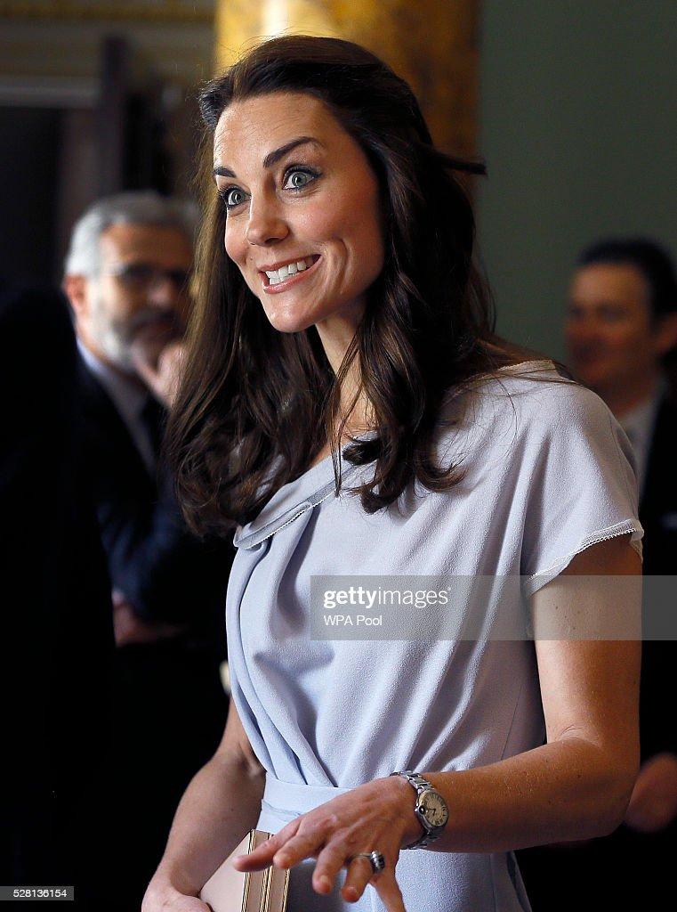 Catherine, Duchess of Cambridge smiles as she speaks with guests during a reception in support of The Anna Freud Centre on May 4, 2016 at Spencer House in London, England. The Duchess undertook her first engagement as Patron of the Anna Freud Centre by attending a lunch reception supporting the development of a new centre of excellence for children's mental health.