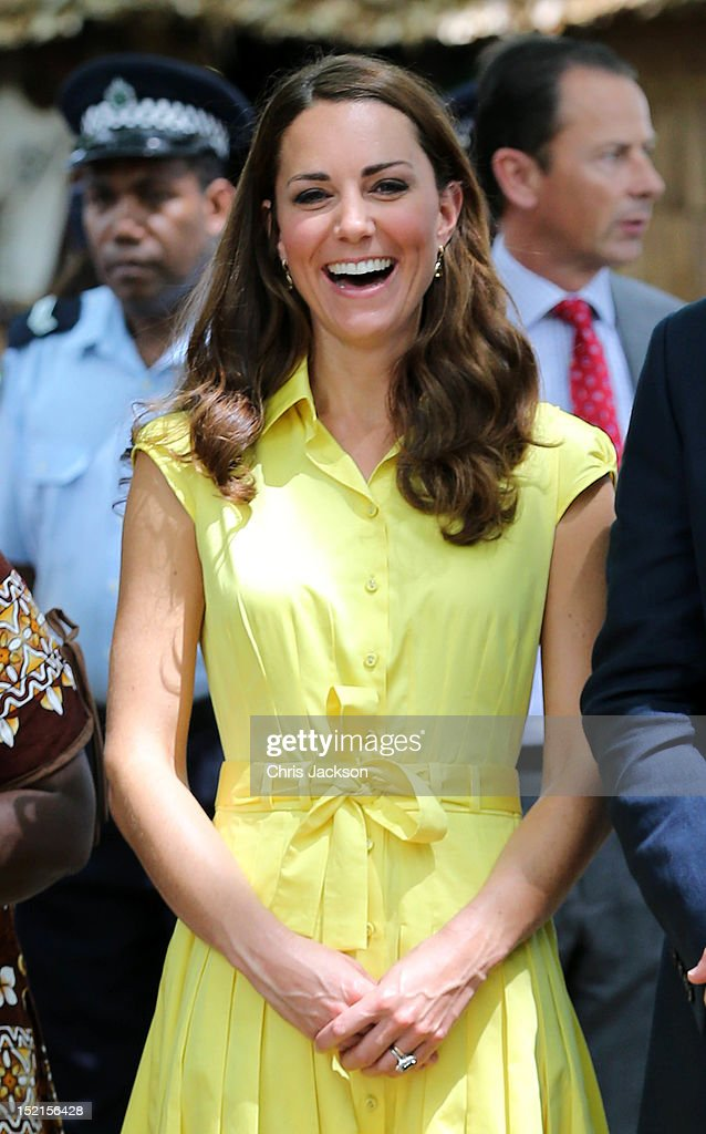 Catherine, Duchess of Cambridge smiles as she visits a cultural village on their Diamond Jubilee tour of the Far East on September 17, 2012 in Honiara, Guadalcanal Island. Prince William, Duke of Cambridge and Catherine, Duchess of Cambridge are on a Diamond Jubilee tour representing the Queen taking in Singapore, Malaysia, the Solomon Islands and Tuvalu.