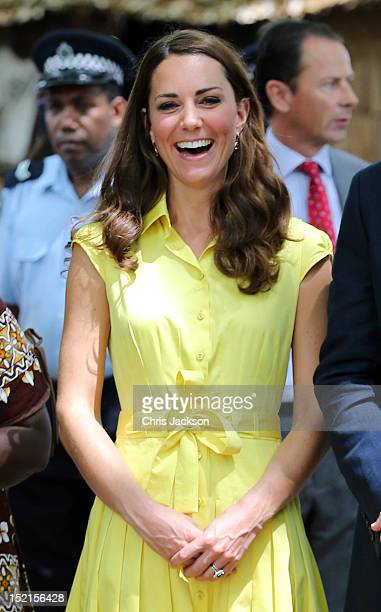 Catherine, Duchess of Cambridge smiles as she visits a cultural village on their Diamond Jubilee tour of the Far East on September 17, 2012 in...