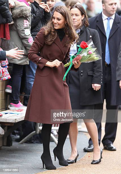 Catherine, Duchess of Cambridge smiles as she visits Alder Hey Children's NHS Foundation Trust on February 14, 2012 in Liverpool, England. The...