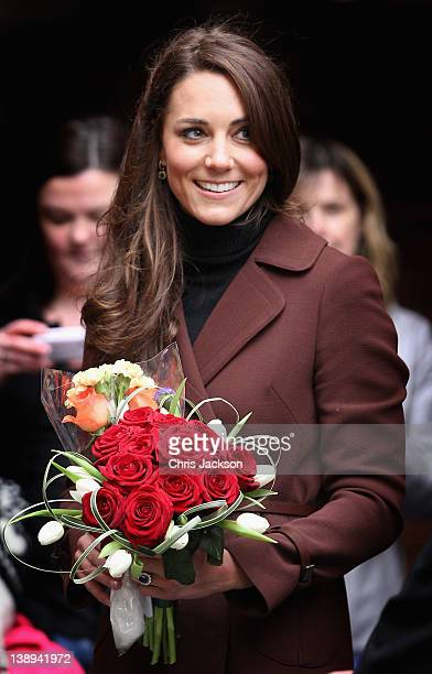 Catherine Duchess of Cambridge smiles as she visits Alder Hey Children's NHS Foundation Trust on February 14 2012 in Liverpool England The Duchess...