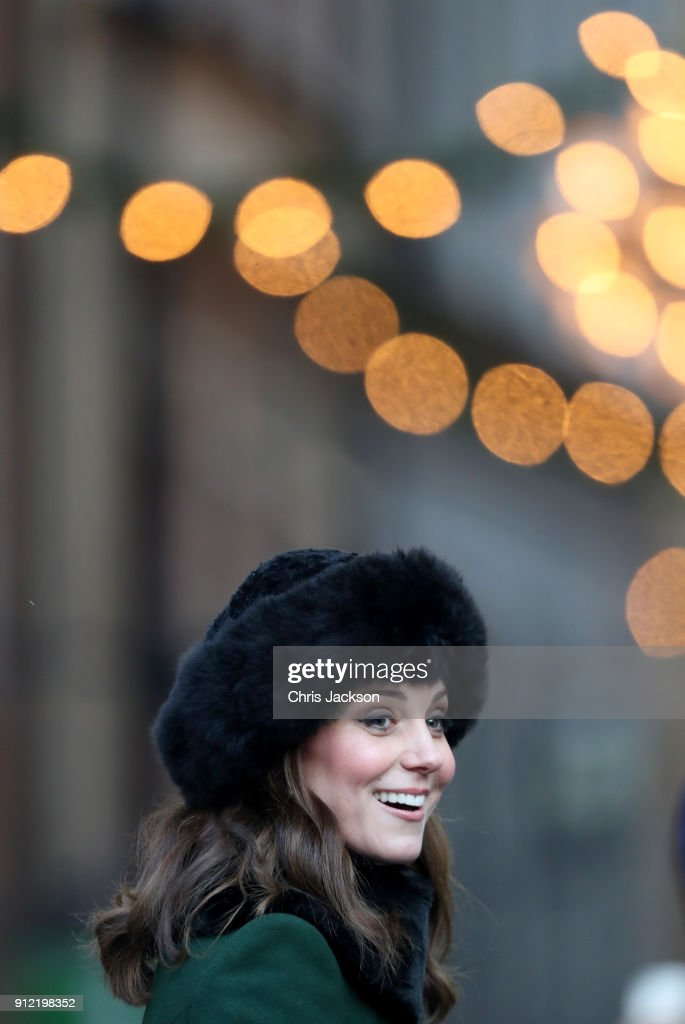 Catherine, Duchess of Cambridge smiles as she walks through the cobbled streets of Stockholm from the Royal Palace to the Nobel Museum during day one of her Royal visit to Sweden and Norway with Prince William, Duke of Cambridge on January 30, 2018 in Stockholm, Sweden.