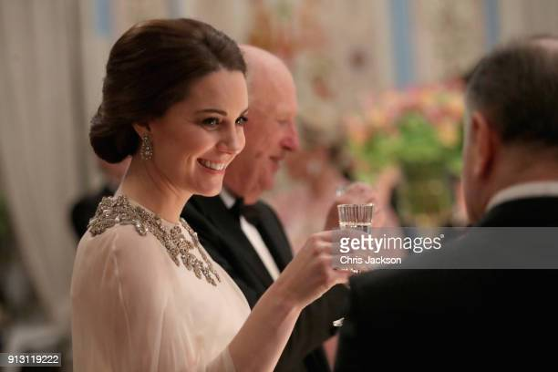 Catherine Duchess of Cambridge smiles during a dinner at the Royal Palace with Prince William Duke of Cambridge on day 3 of their visit to Sweden and...