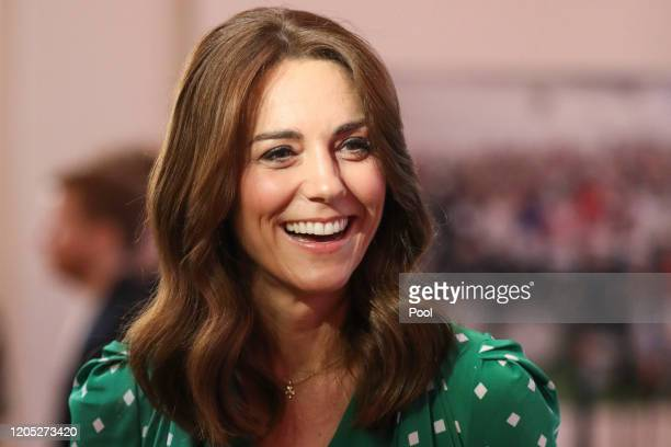 Catherine, Duchess of Cambridge smiles during a meeting with Galway Community Circus performers, local artists and young musicians on March 5, 2020...