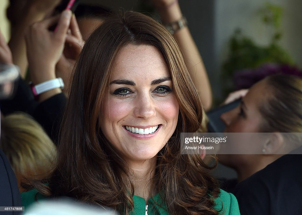 Catherine, Duchess of Cambridge smiles during a visit to a Yorkshire village celebrating the Stage 1 route of the Tour de France on July 05, 2014 in West Tanfield, England.