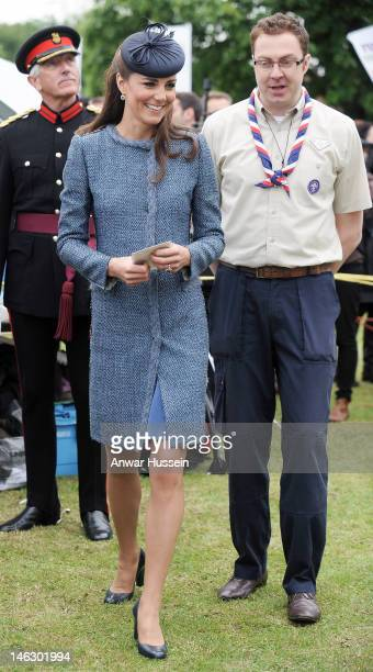 Catherine, Duchess of Cambridge smiles during a visit to Vernon Park during a Diamond Jubilee visit to Nottingham on June 13, 2012 in Nottingham,...