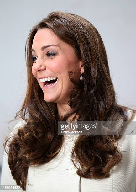 Catherine Duchess of Cambridge smiles during an official visit to the set of Downton Abbey at Ealing Studios on March 12 2015 in London England