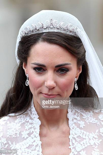 Catherine Duchess of Cambridge smiles following her marriage to Prince William Duke of Cambridge at Westminster Abbey on April 29 2011 in London...