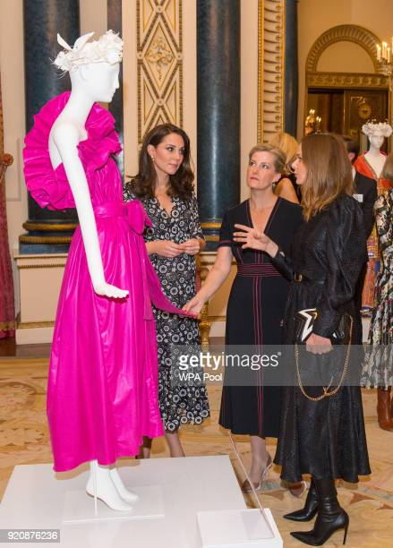 Catherine Duchess of Cambridge Sophie Countess of Wessex and Stella McCartney attend The Commonwealth Fashion Exchange Reception at Buckingham Palace...