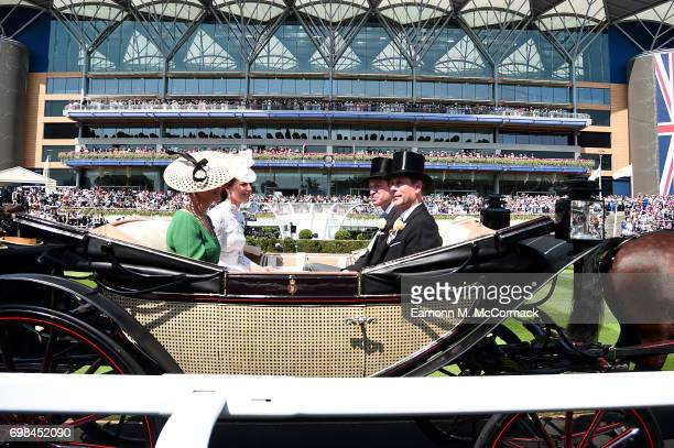 Catherine Duchess of Cambridge Sophie Countess of Wessex Prince William Duke of Cambridge and Prince Edward Earl of Wessex on day 1 of Royal Ascot at...