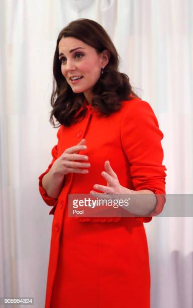 Catherine Duchess of Cambridge speaks as she visits Great Ormond Street Hospital to officially open the Mittal Children's Medical Centre home to the...