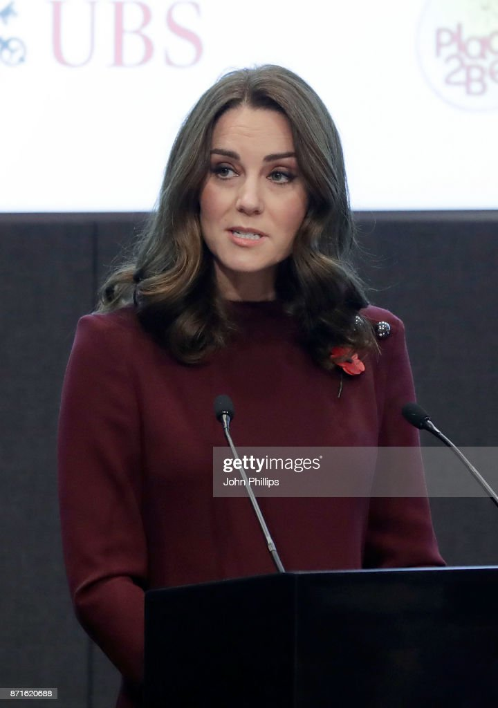 Catherine, Duchess Of Cambridge speaks at the annual Place2Be School Leaders Forum at UBS London on November 8, 2017 in London, England. Catherine, Duchess Of Cambridge is Patron of Place2Be, a National Children's mental health charity.