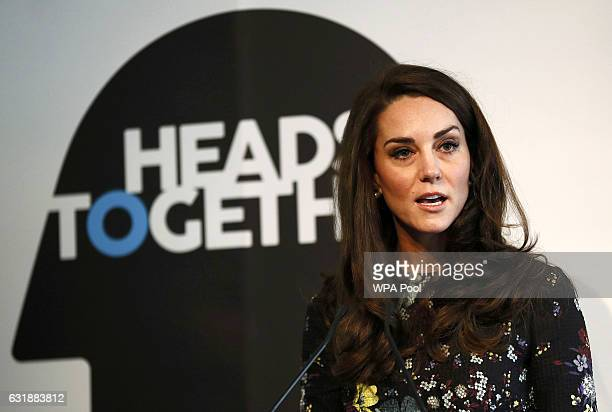 Catherine Duchess Of Cambridge speaks during a briefing to announce plans for Heads Together ahead of the 2017 Virgin Money London Marathon at ICA on...