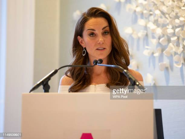 Catherine Duchess of Cambridge speaks during the first annual gala dinner in recognition of Addiction Awareness Week at Phillips Gallery on June 12...