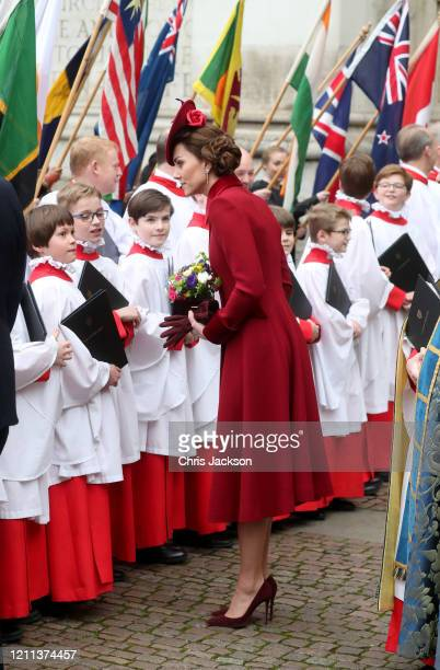 Catherine, Duchess of Cambridge speaks to choir boys as she departs the Commonwealth Day Service 2020 at Westminster Abbey on March 09, 2020 in...