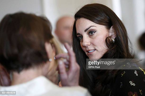 Catherine Duchess of Cambridge speaks to guests during a briefing to announce plans for Heads Together ahead of the 2017 Virgin Money London Marathon...