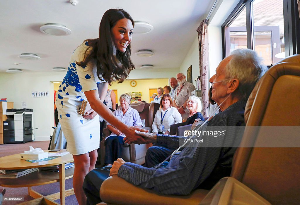Catherine, Duchess of Cambridge speaks to patients during a visit to Keech Hospice Care on August 24, 2016 in Luton, England. The Duke and Duchess visited Youthscape at Bute Mills to tour the facility and learn about Youthscape's work, and then meet CHUMS and the OM Group and Luton Council of Faiths and Grassroots for discussions about coping with suicide and supporting young people's mental health and emotional wellbeing across faith groups.
