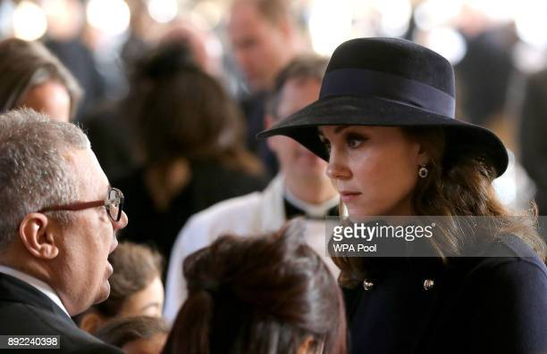 Catherine Duchess of Cambridge speaks to people as she leaves the Grenfell Tower National Memorial Service held at St Paul's Cathedral on December 14...