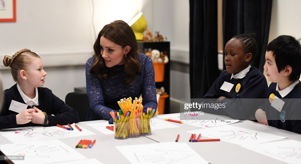 Catherine, Duchess of Cambridge speaks to pupils from Albion Primary School as she officially opens the new headquarters of children's mental health charity Place2Be on March 7, 2018 in London, England.