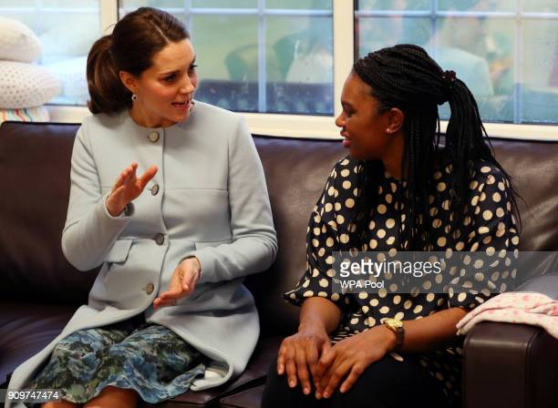 Catherine Duchess of Cambridge speaks to Reem a patient at the Mother and Baby unit at the Bethlem Royal Hospital on January 24 2018 in London England