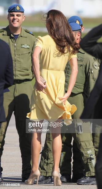 Catherine Duchess of Cambridge speaks to soldiers as she arrives at Calgary Airport on July 7 2011 in Calgary Canada The newly married Royal Couple...