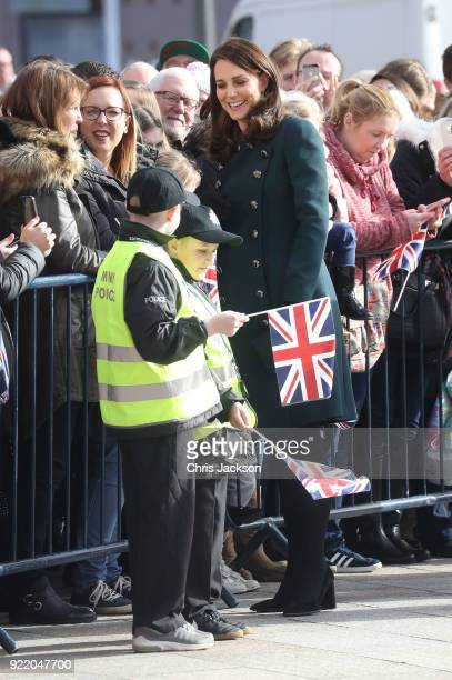 Catherine Duchess of Cambridge speaks with children dressed as Mini Police officers as she visits The Fire Station one of Sunderland's most iconic...