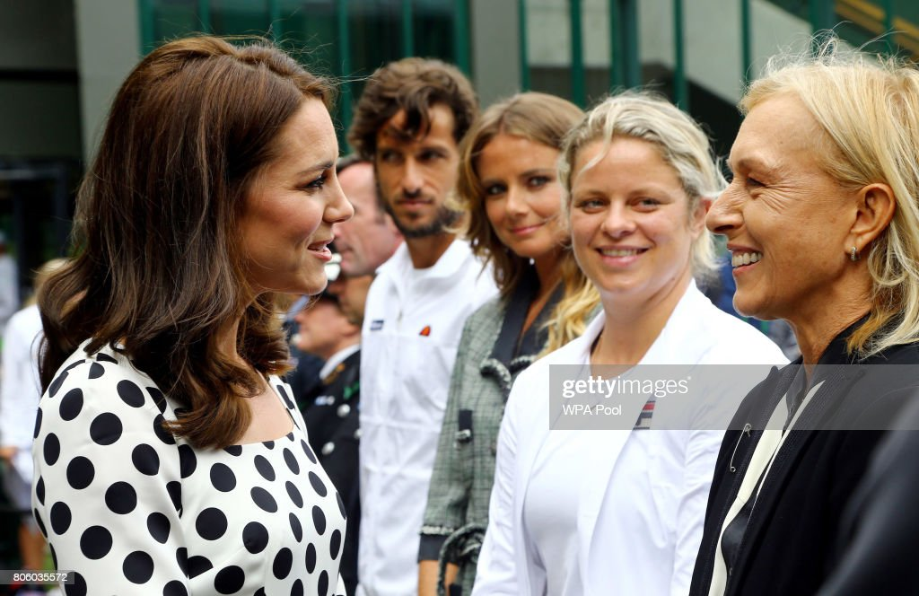 Catherine, Duchess of Cambridge speaks with ex tennis players Kim Clijsters (second from right) and Martina Navratilova (right) on day one of the Wimbledon Championships at The All England Lawn Tennis and Croquet Club, in Wimbledon on July 3, 2017 in London, England.