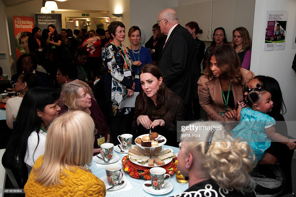Catherine, Duchess of Cambridge speaks with foster carers during an event hosted by The Fostering Network to celebrate the work of foster carers in providing support to vulnerable young people on January 16, 2015 in London, England.