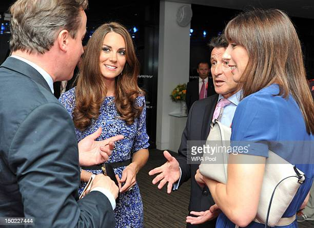 Catherine Duchess of Cambridge speaks with Prime Minister David Cameron his wife Samantha and Lord Coe during the Closing Ceremony on Day 16 of the...