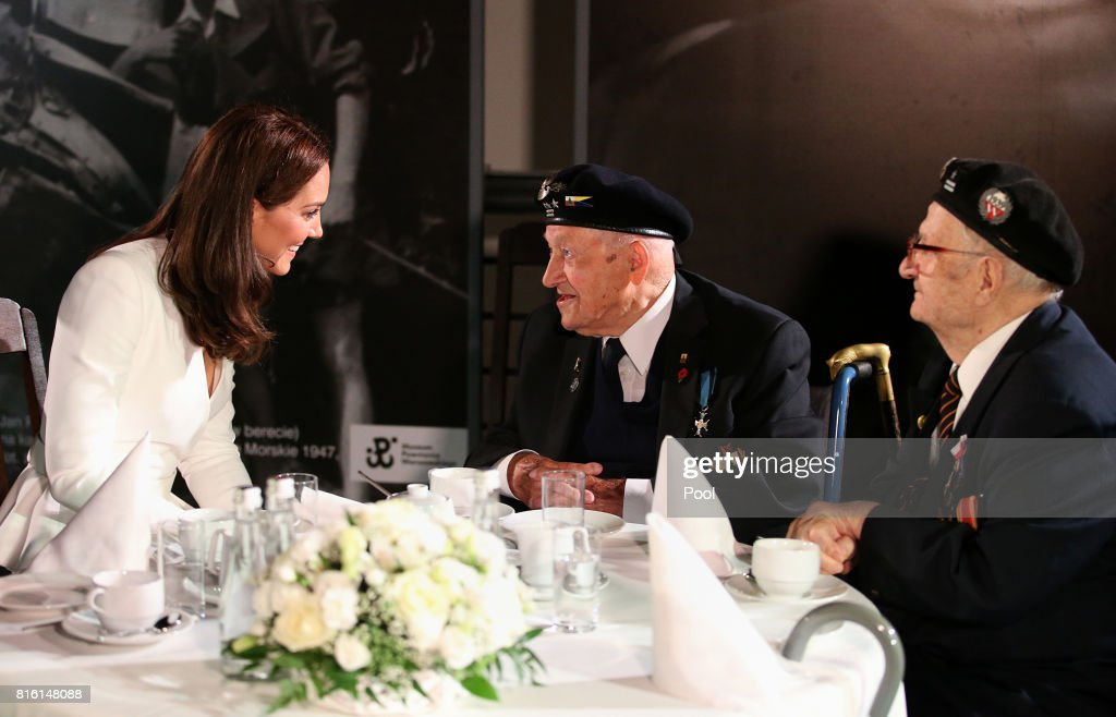 Catherine, Duchess of Cambridge speaks with WWII veteran during a visit they visit the Warsaw Rising Museum on day 1 of their offical visit to Poland on July 17, 2017 in Warsaw, Poland.