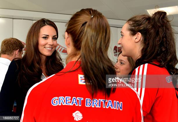 Catherine, Duchess of Cambridge speaks with young athletes at Team GB House in the Westfield Centre, Stratford, east London on August 9 during The...