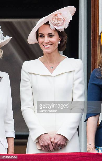 Catherine, Duchess of Cambridge stands on the balcony during the Trooping the Colour, this year marking the Queen's official 90th birthday at The...