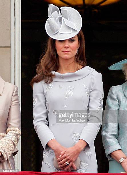 Catherine Duchess of Cambridge stands on the balcony of Buckingham Palace during the annual Trooping the Colour Ceremony at Buckingham Palace on June...