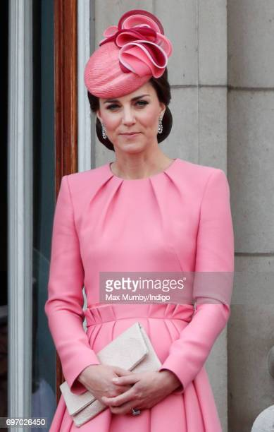 Catherine Duchess of Cambridge stands on the balcony of Buckingham Palace during the annual Trooping the Colour Parade on June 17 2017 in London...
