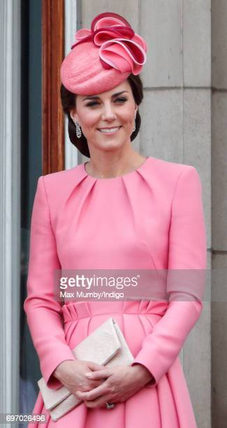 Catherine, Duchess of Cambridge stands on the balcony of Buckingham Palace during the annual Trooping the Colour Parade on June 17, 2017 in London,...