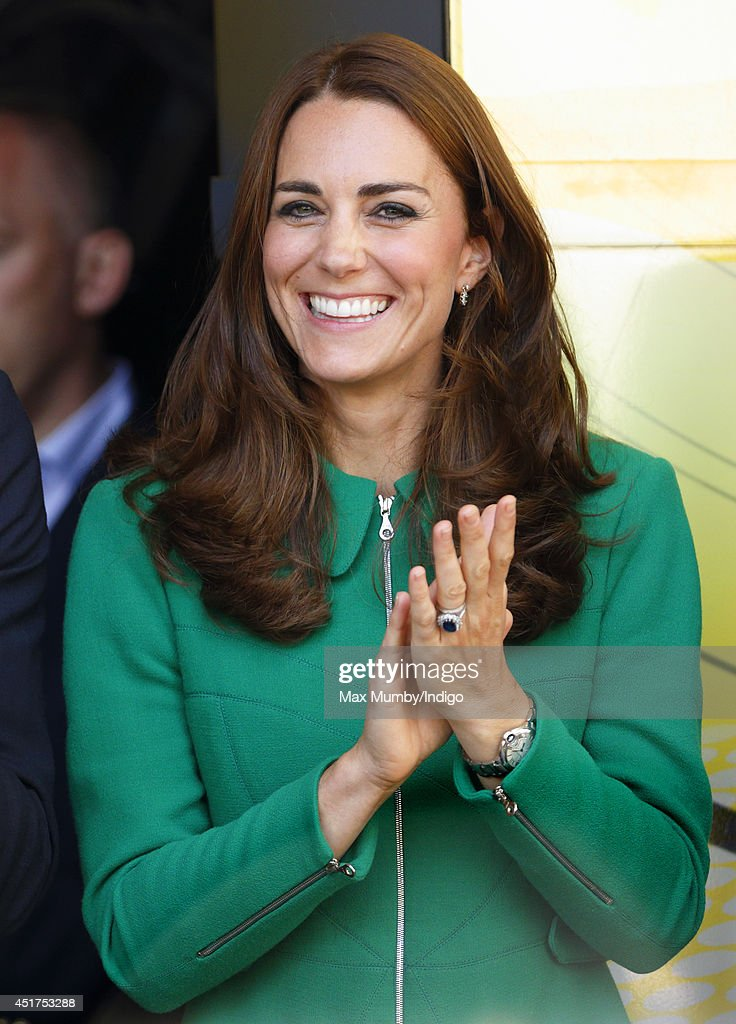 Catherine, Duchess of Cambridge stands on the podium at the finish of stage one of the Tour de France on July 5, 2014 in Harrogate, England.