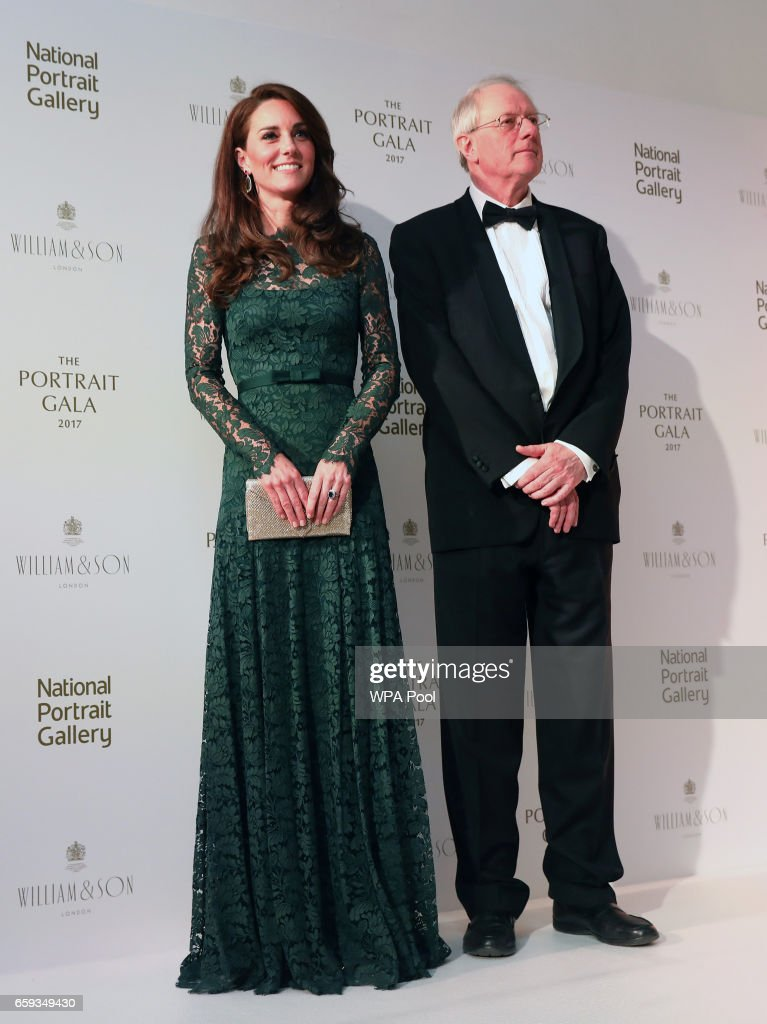 Catherine, Duchess of Cambridge stands with Chair of Trustees William Proby at the 2017 Portrait Gala at the National Portrait Gallery on March 28, 2017 in London, Britain.