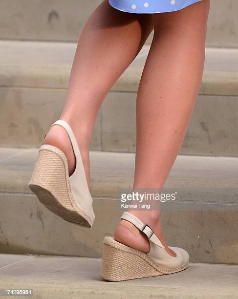 Catherine, Duchess of Cambridge steps back into the Lindo Wing of St Mary's Hospital with Prince William, Duke of Cambridge and their newborn son...