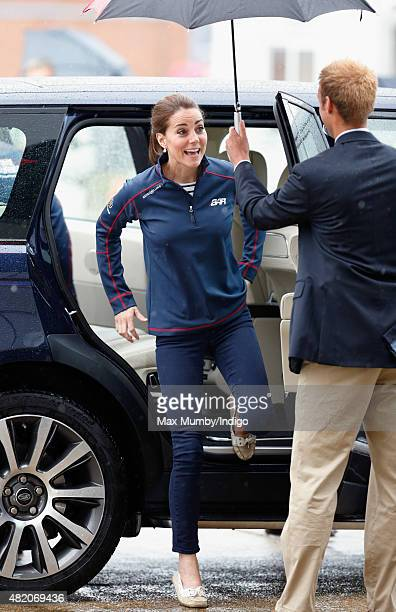 Catherine Duchess of Cambridge steps out her Range Rover car as she visits the Portsmouth Historical Dockyard as she attends the America's Cup World...