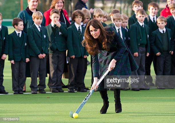 Catherine Duchess of Cambridge takes part in a day of activities and festivities to mark the occasion of St Andrew's Day at St Andrew's School on...